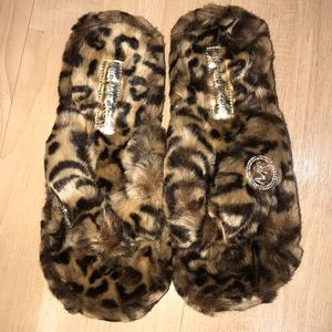 NWT Michael Kors Animal Print Slippers with Box